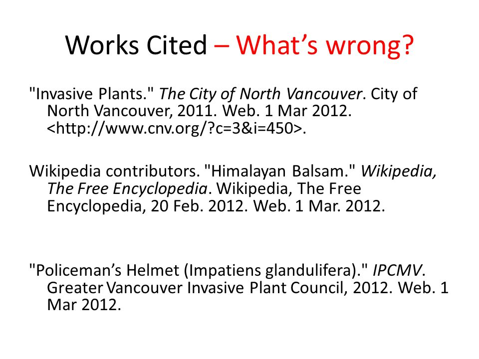 Works Cited – What's wrong?