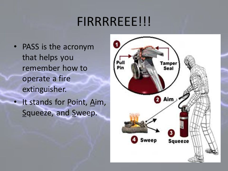 PASS is the acronym that helps you remember how to operate a fire extinguisher. It stands for Point, Aim, Squeeze, and Sweep.