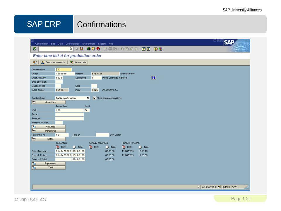 SAP ERP SAP University Alliances Page 1-24 © 2009 SAP AG Confirmations