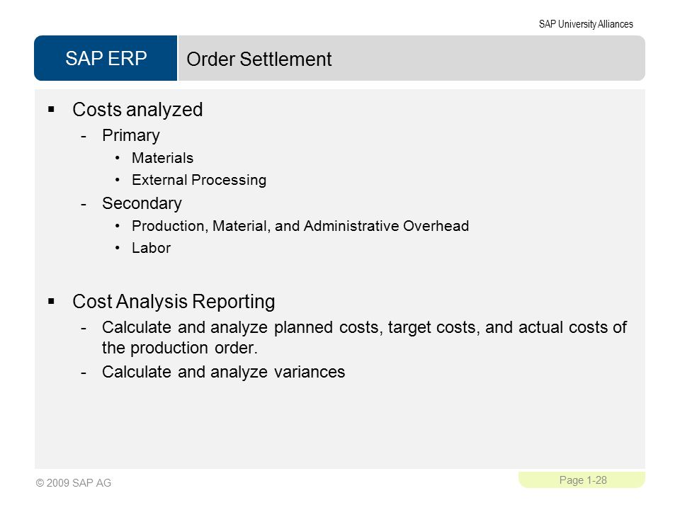 SAP ERP SAP University Alliances Page 1-28 © 2009 SAP AG Order Settlement  Costs analyzed -Primary Materials External Processing -Secondary Production, Material, and Administrative Overhead Labor  Cost Analysis Reporting -Calculate and analyze planned costs, target costs, and actual costs of the production order.