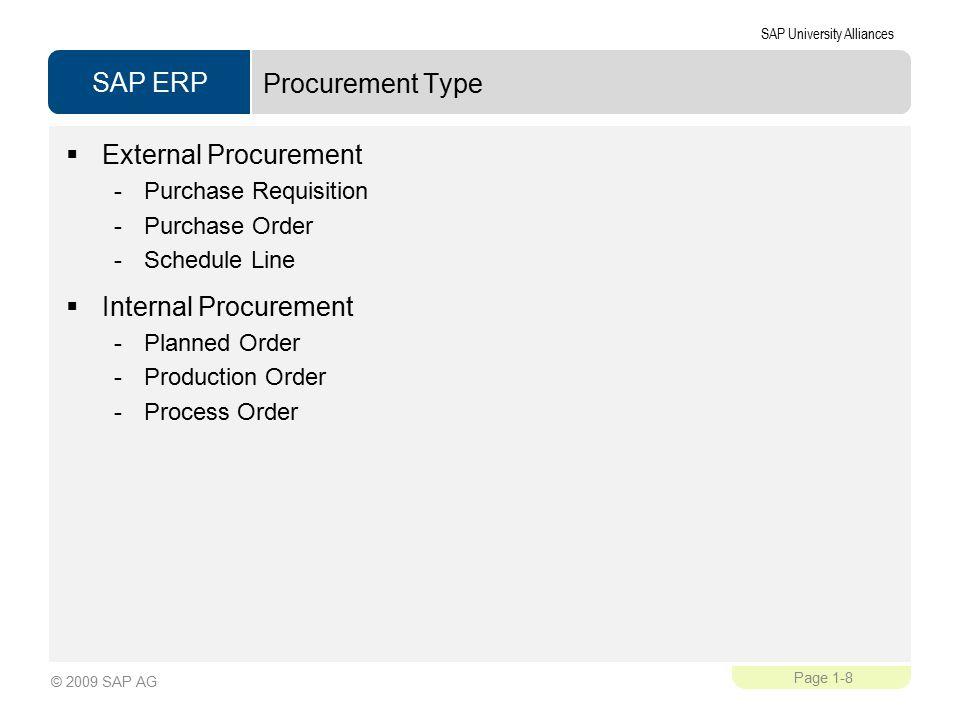 SAP ERP SAP University Alliances Page 1-8 © 2009 SAP AG Procurement Type  External Procurement -Purchase Requisition -Purchase Order -Schedule Line  Internal Procurement -Planned Order -Production Order -Process Order