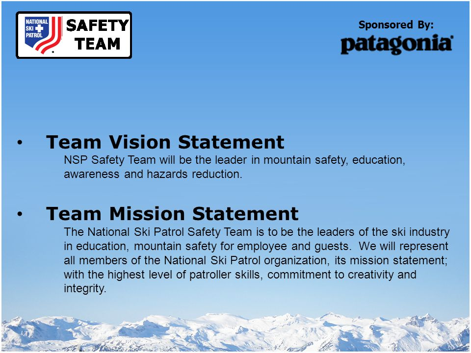Current Safety Team Programs Season Long Program Recognizes Patrollers, Employees and Area Guests who demonstrate and follow safety procedures at your local area.