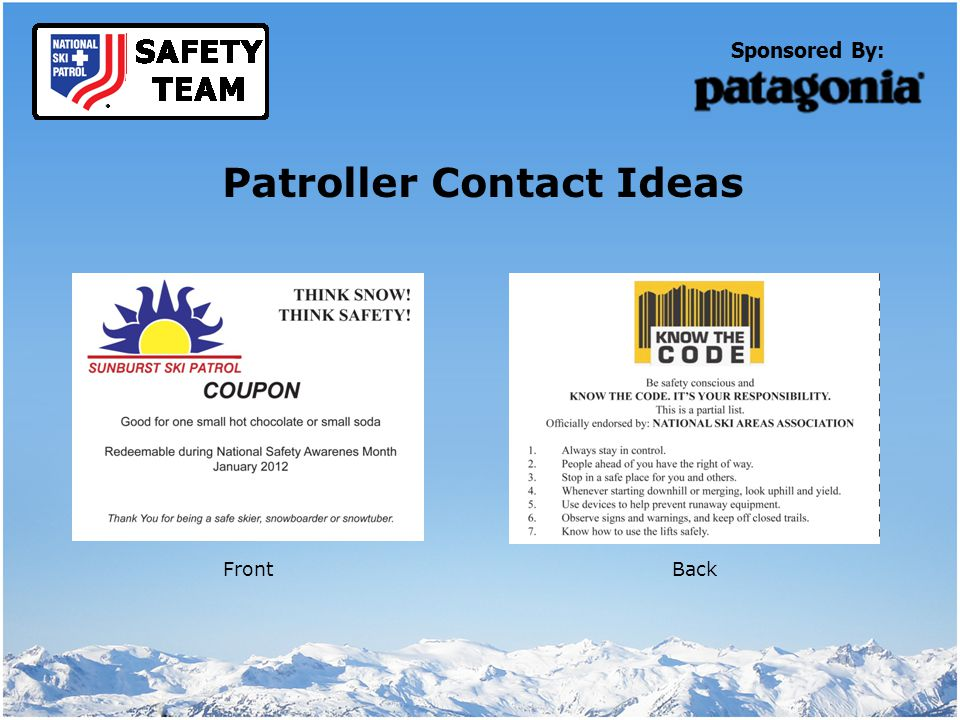 Sponsored By: Patroller Contact Ideas FrontBack