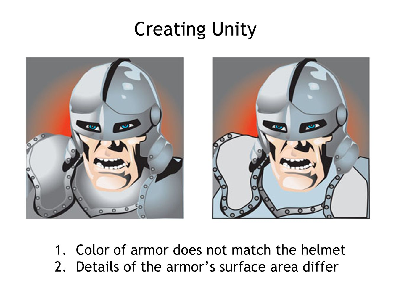 Creating Unity 1. Color of armor does not match the helmet 2. Details of the armor's surface area differ