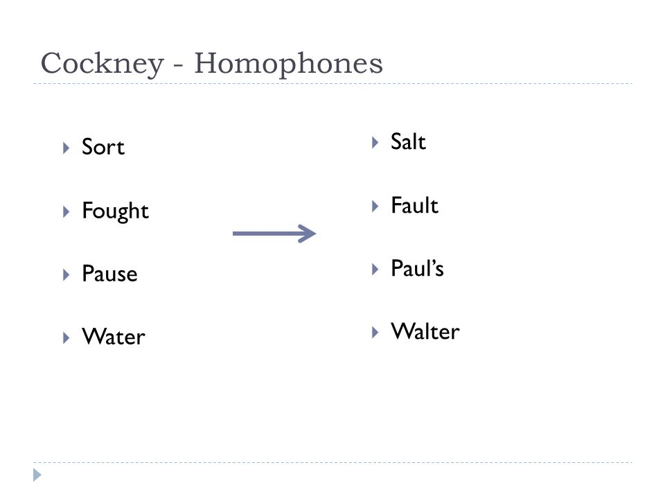 Cockney - Homophones  Sort  Fought  Pause  Water  Salt  Fault  Paul's  Walter