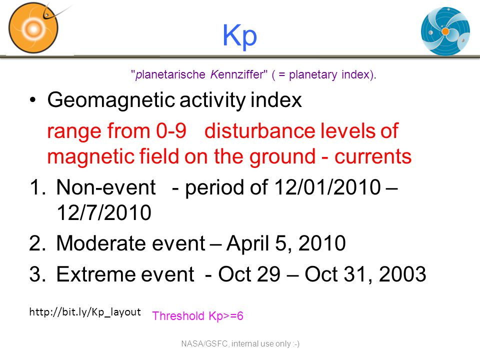 Kp Geomagnetic activity index range from 0-9 disturbance levels of magnetic field on the ground - currents 1.Non-event - period of 12/01/2010 – 12/7/2010 2.Moderate event – April 5, 2010 3.Extreme event - Oct 29 – Oct 31, 2003 NASA/GSFC, internal use only :-) planetarische Kennziffer ( = planetary index).