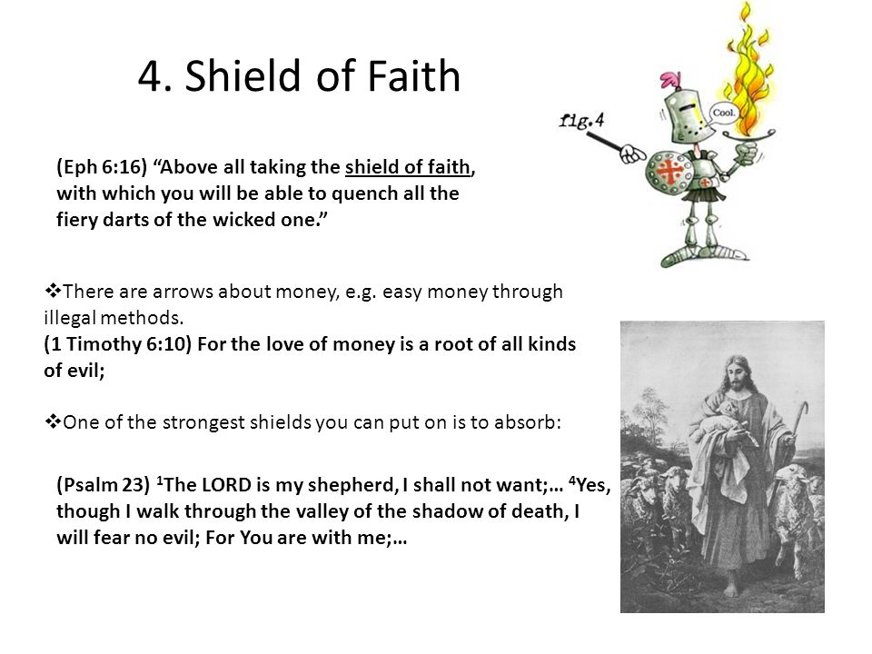 """4. Shield of Faith (Eph 6:16) """"Above all taking the shield of faith, with which you will be able to quench all the fiery darts of the wicked one.""""  T"""