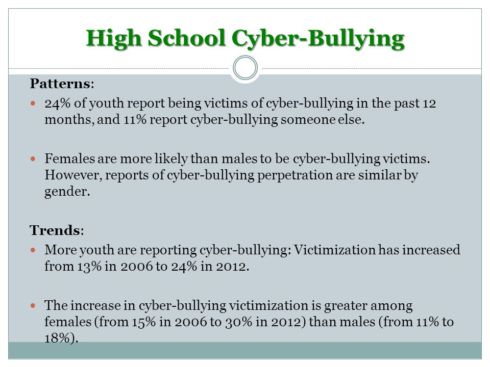 High School Cyber-Bullying Patterns: 24% of youth report being victims of cyber-bullying in the past 12 months, and 11% report cyber-bullying someone else.