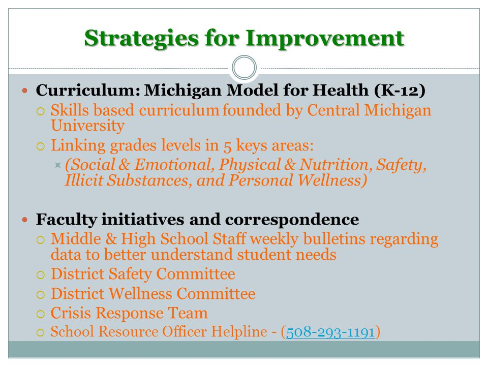 Strategies for Improvement Curriculum: Michigan Model for Health (K-12)  Skills based curriculum founded by Central Michigan University  Linking grades levels in 5 keys areas:  (Social & Emotional, Physical & Nutrition, Safety, Illicit Substances, and Personal Wellness) Faculty initiatives and correspondence  Middle & High School Staff weekly bulletins regarding data to better understand student needs  District Safety Committee  District Wellness Committee  Crisis Response Team  School Resource Officer Helpline - (508-293-1191)508-293-1191