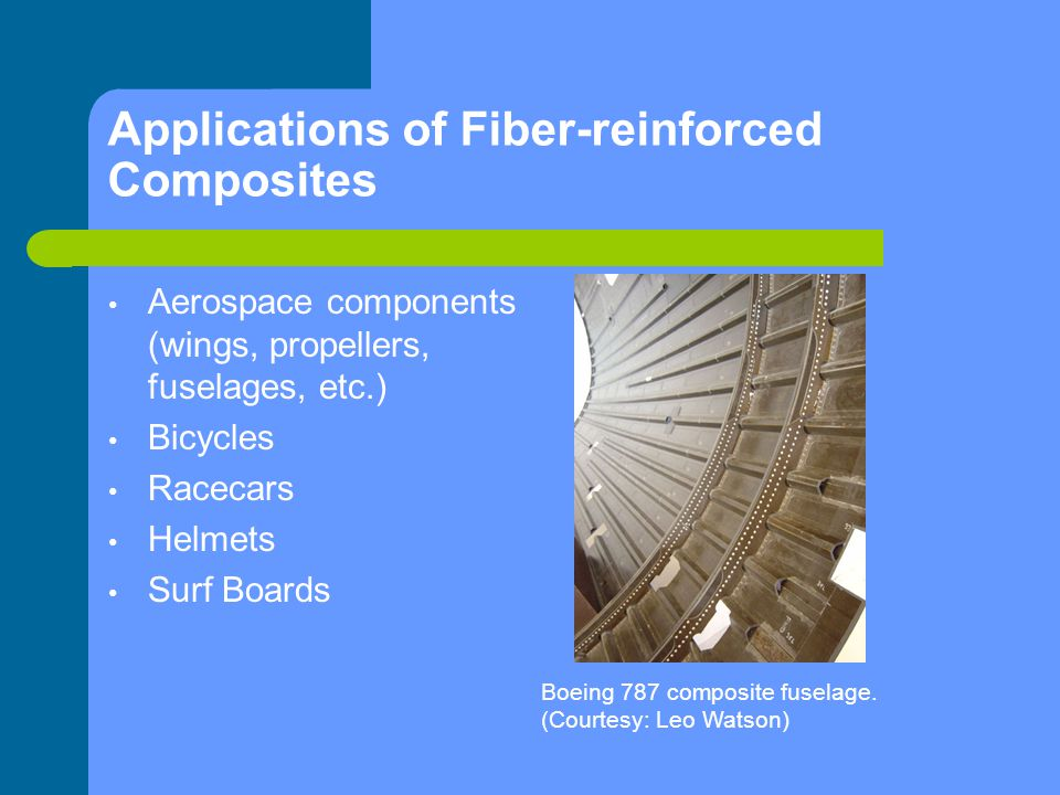 Applications of Fiber-reinforced Composites Aerospace components (wings, propellers, fuselages, etc.) Bicycles Racecars Helmets Surf Boards Boeing 787
