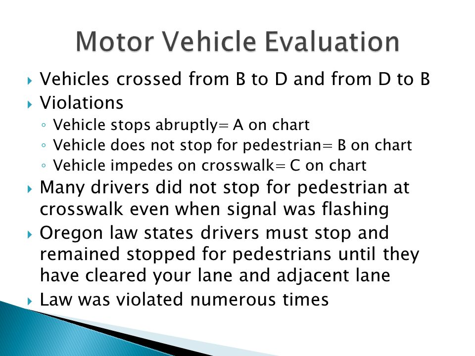  Vehicles crossed from B to D and from D to B  Violations ◦ Vehicle stops abruptly= A on chart ◦ Vehicle does not stop for pedestrian= B on chart ◦ Vehicle impedes on crosswalk= C on chart  Many drivers did not stop for pedestrian at crosswalk even when signal was flashing  Oregon law states drivers must stop and remained stopped for pedestrians until they have cleared your lane and adjacent lane  Law was violated numerous times