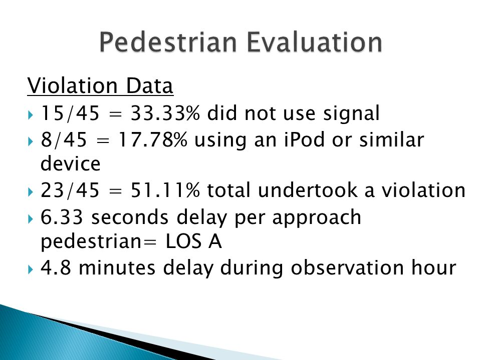 Violation Data  15/45 = 33.33% did not use signal  8/45 = 17.78% using an iPod or similar device  23/45 = 51.11% total undertook a violation  6.33 seconds delay per approach pedestrian= LOS A  4.8 minutes delay during observation hour