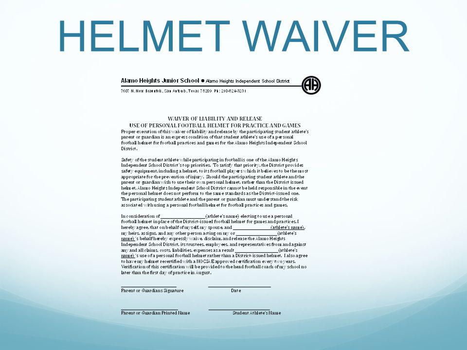 HELMET WAIVER