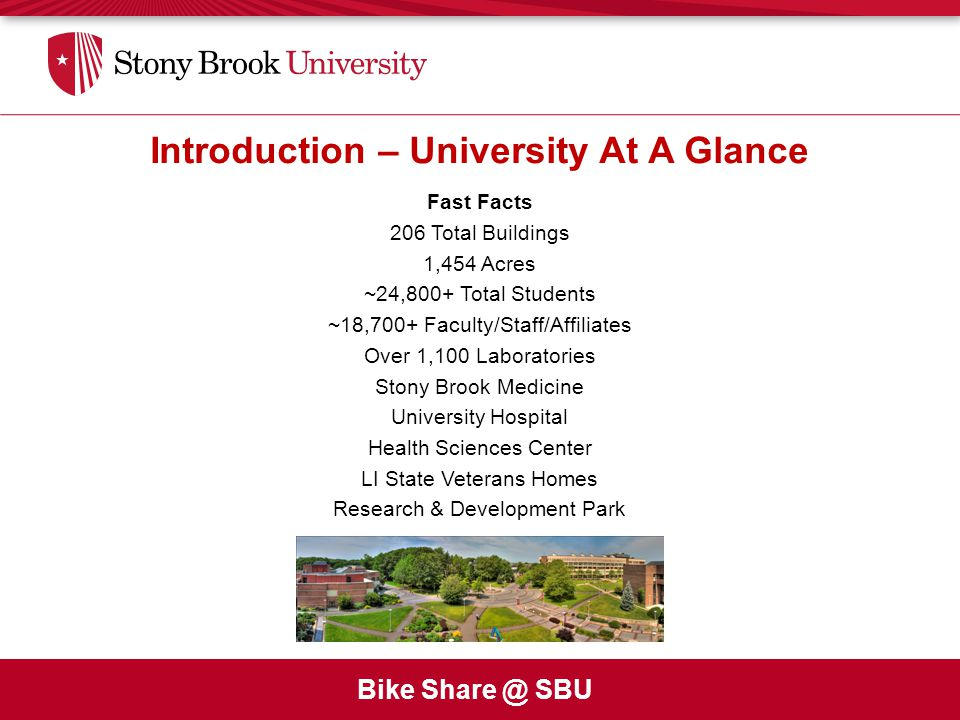 Bike Share @ SBU Introduction – University At A Glance Fast Facts 206 Total Buildings 1,454 Acres ~24,800+ Total Students ~18,700+ Faculty/Staff/Affiliates Over 1,100 Laboratories Stony Brook Medicine University Hospital Health Sciences Center LI State Veterans Homes Research & Development Park