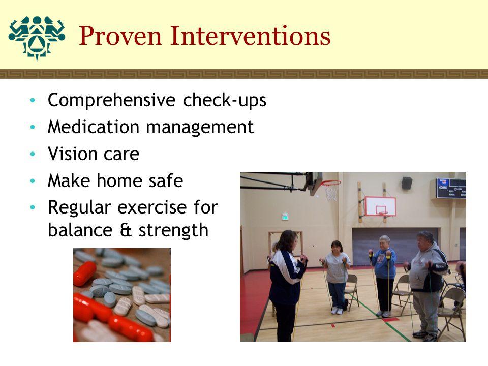 Comprehensive check-ups Medication management Vision care Make home safe Regular exercise for balance & strength Proven Interventions