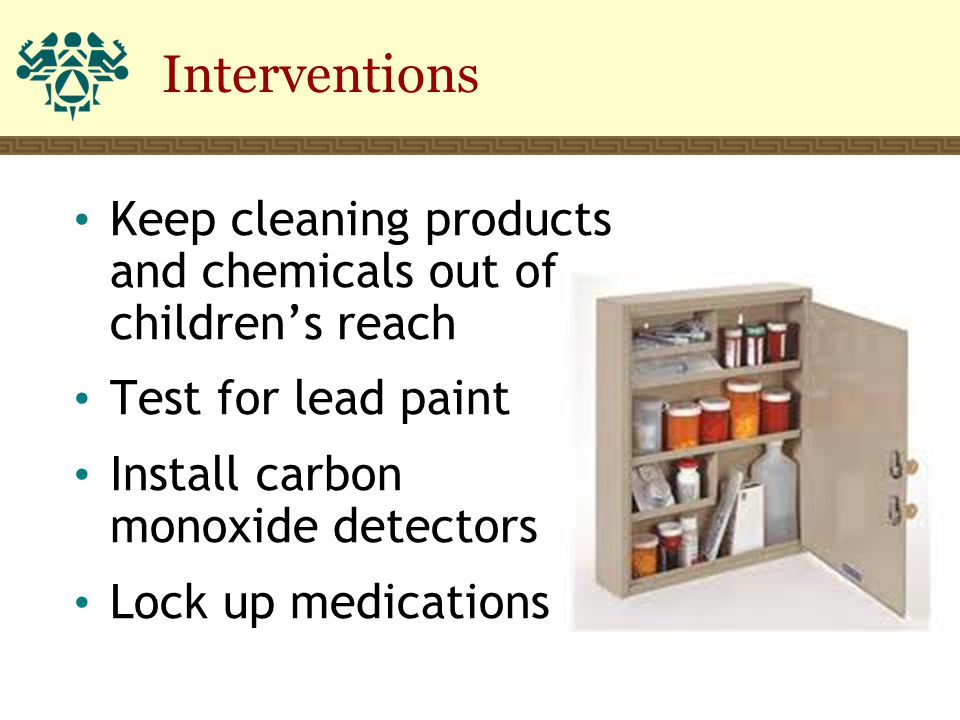 Interventions Keep cleaning products and chemicals out of children's reach Test for lead paint Install carbon monoxide detectors Lock up medications