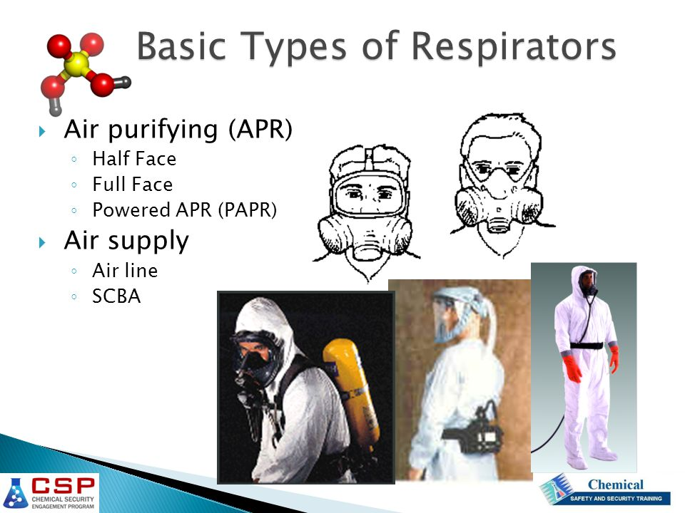  Air purifying (APR) ◦ Half Face ◦ Full Face ◦ Powered APR (PAPR)  Air supply ◦ Air line ◦ SCBA Basic Types of Respirators