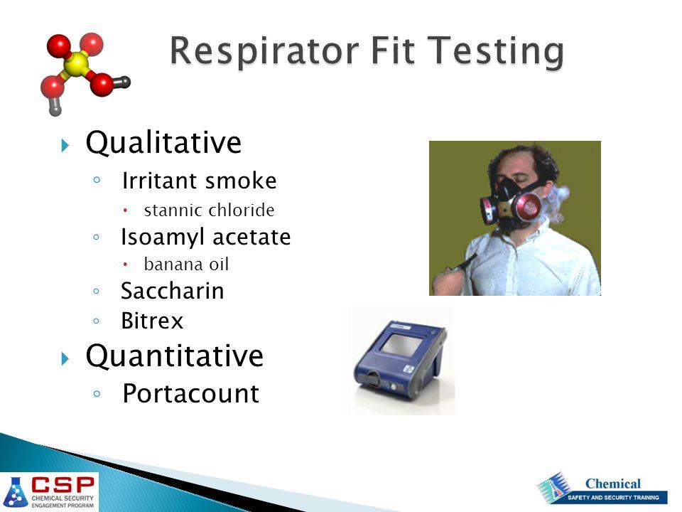  Qualitative ◦ Irritant smoke  stannic chloride ◦ Isoamyl acetate  banana oil ◦ Saccharin ◦ Bitrex  Quantitative ◦ Portacount
