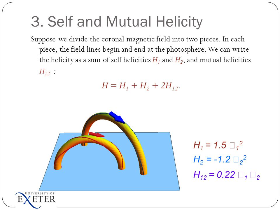 3. Self and Mutual Helicity Suppose we divide the coronal magnetic field into two pieces.