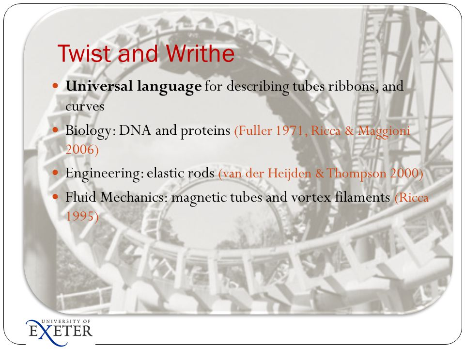 Twist and Writhe Universal language for describing tubes ribbons, and curves Biology: DNA and proteins (Fuller 1971, Ricca & Maggioni 2006) Engineerin