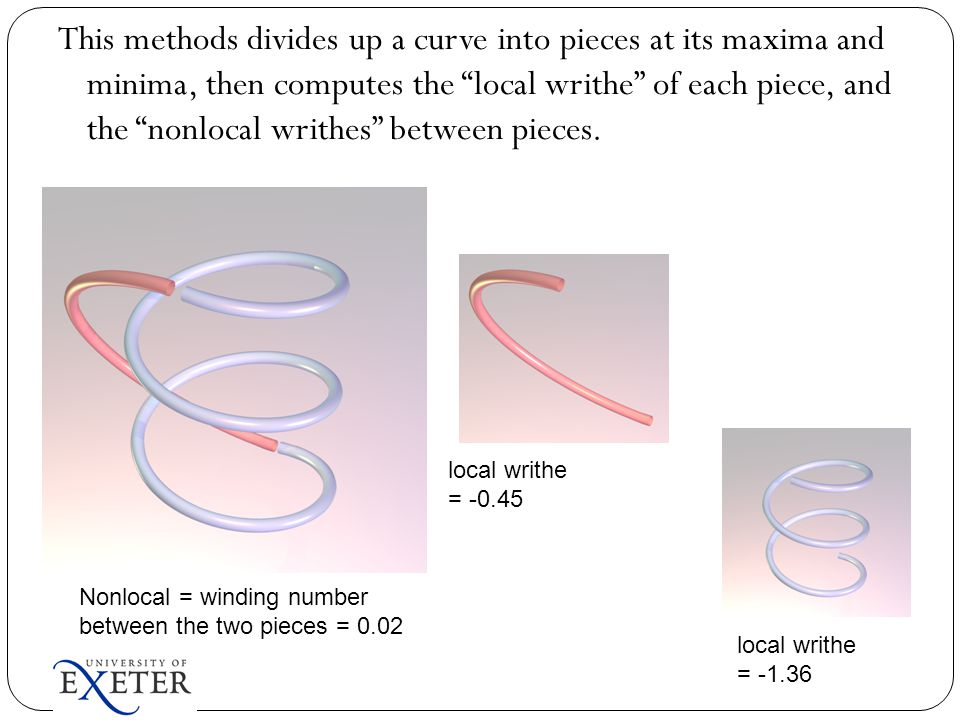 """This methods divides up a curve into pieces at its maxima and minima, then computes the """"local writhe"""" of each piece, and the """"nonlocal writhes"""" betwe"""