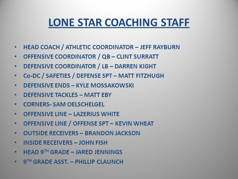 LONE STAR COACHING STAFF HEAD COACH / ATHLETIC COORDINATOR – JEFF RAYBURN OFFENSIVE COORDINATOR / QB – CLINT SURRATT DEFENSIVE COORDINATOR / LB – DARREN KIGHT Co-DC / SAFETIES / DEFENSE SPT – MATT FITZHUGH DEFENSIVE ENDS – KYLE MOSSAKOWSKI DEFENSIVE TACKLES – MATT EBY CORNERS- SAM OELSCHELGEL OFFENSIVE LINE – LAZERIUS WHITE OFFENSIVE LINE / OFFENSE SPT – KEVIN WHEAT OUTSIDE RECEIVERS – BRANDON JACKSON INSIDE RECEIVERS – JOHN FISH HEAD 9 TH GRADE – JARED JENNINGS 9 TH GRADE ASST.