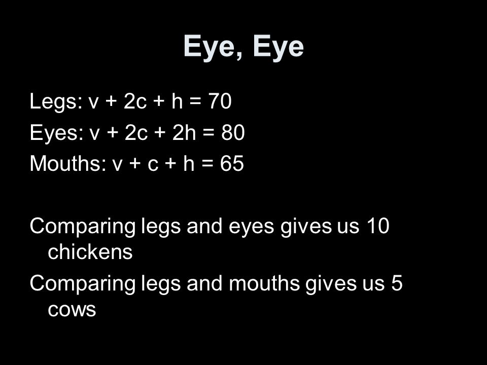 Eye, Eye Legs: v + 2c + h = 70 Eyes: v + 2c + 2h = 80 Mouths: v + c + h = 65 Comparing legs and eyes gives us 10 chickens Comparing legs and mouths gives us 5 cows