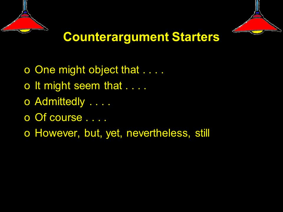 Counterargument Starters oOne might object that....