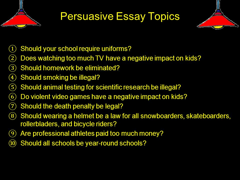 Persuasive Essay Topics ① Should your school require uniforms.