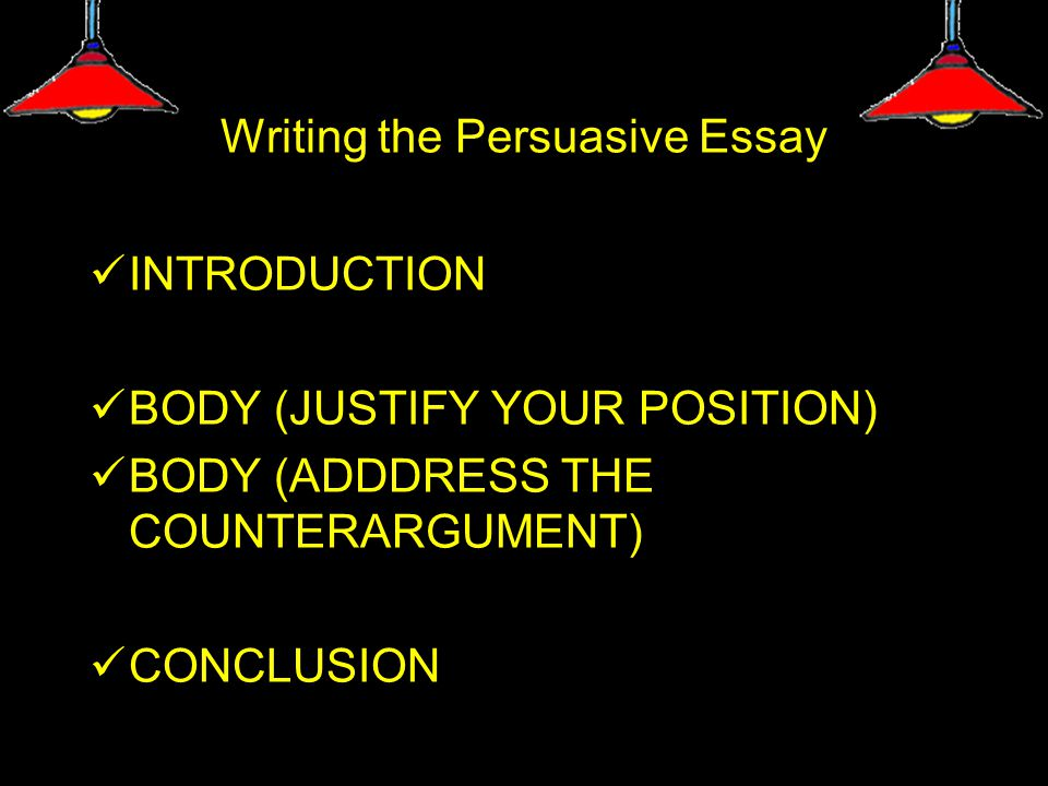 Writing the Persuasive Essay INTRODUCTION BODY (JUSTIFY YOUR POSITION) BODY (ADDDRESS THE COUNTERARGUMENT) CONCLUSION