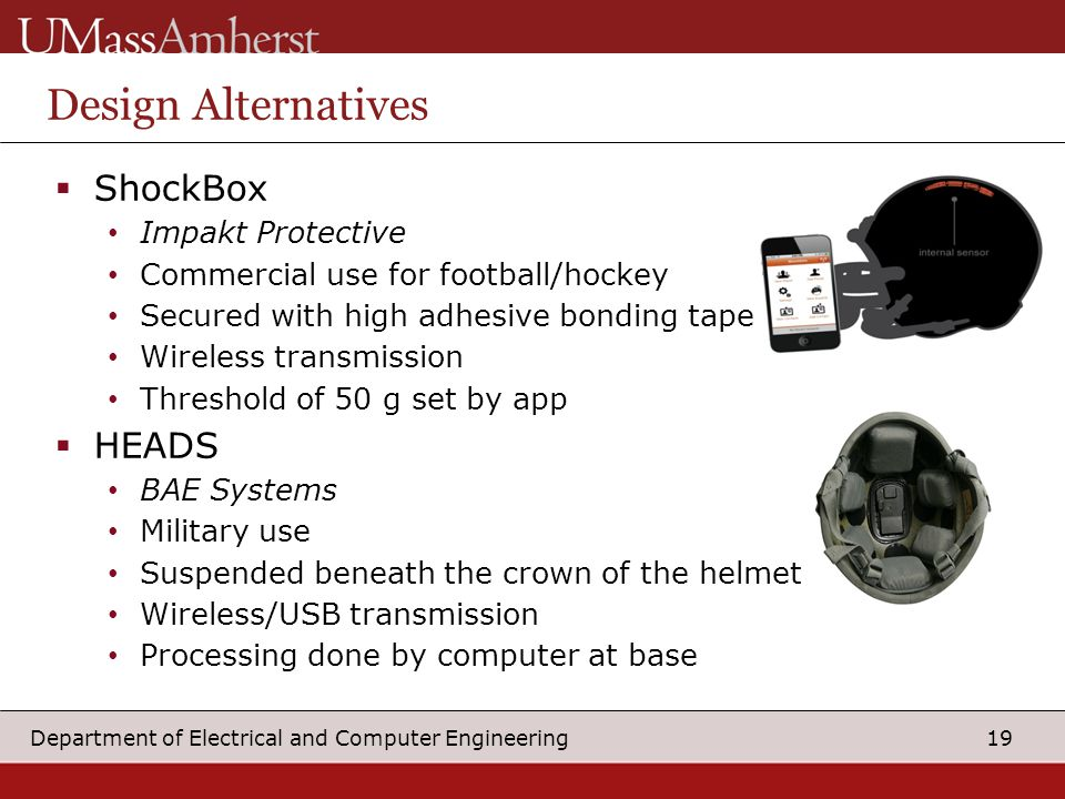 19 Department of Electrical and Computer Engineering  ShockBox Impakt Protective Commercial use for football/hockey Secured with high adhesive bonding tape Wireless transmission Threshold of 50 g set by app  HEADS BAE Systems Military use Suspended beneath the crown of the helmet Wireless/USB transmission Processing done by computer at base Design Alternatives