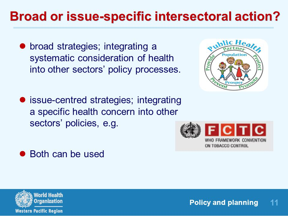 11 Policy and planning Broad or issue-specific intersectoral action.