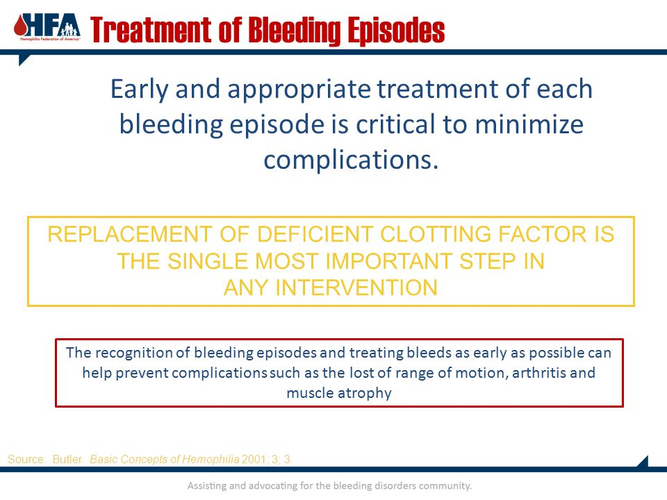 Early and appropriate treatment of each bleeding episode is critical to minimize complications.