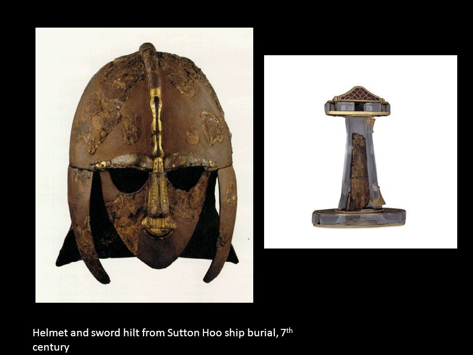 Helmet and sword hilt from Sutton Hoo ship burial, 7 th century