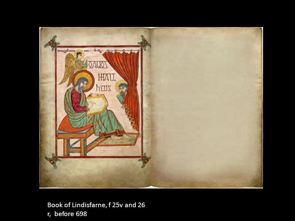 Book of Lindisfarne, f 25v and 26 r, before 698
