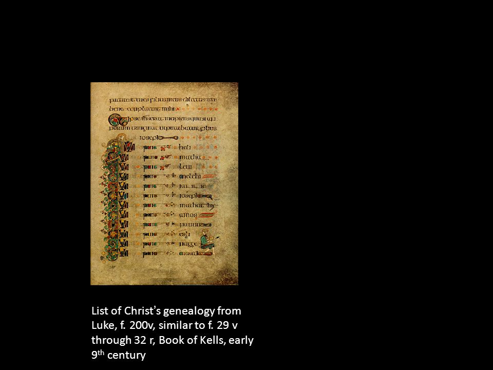 List of Christ ' s genealogy from Luke, f. 200v, similar to f.