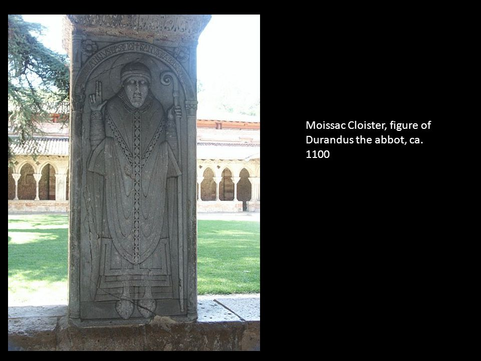Moissac Cloister, figure of Durandus the abbot, ca. 1100