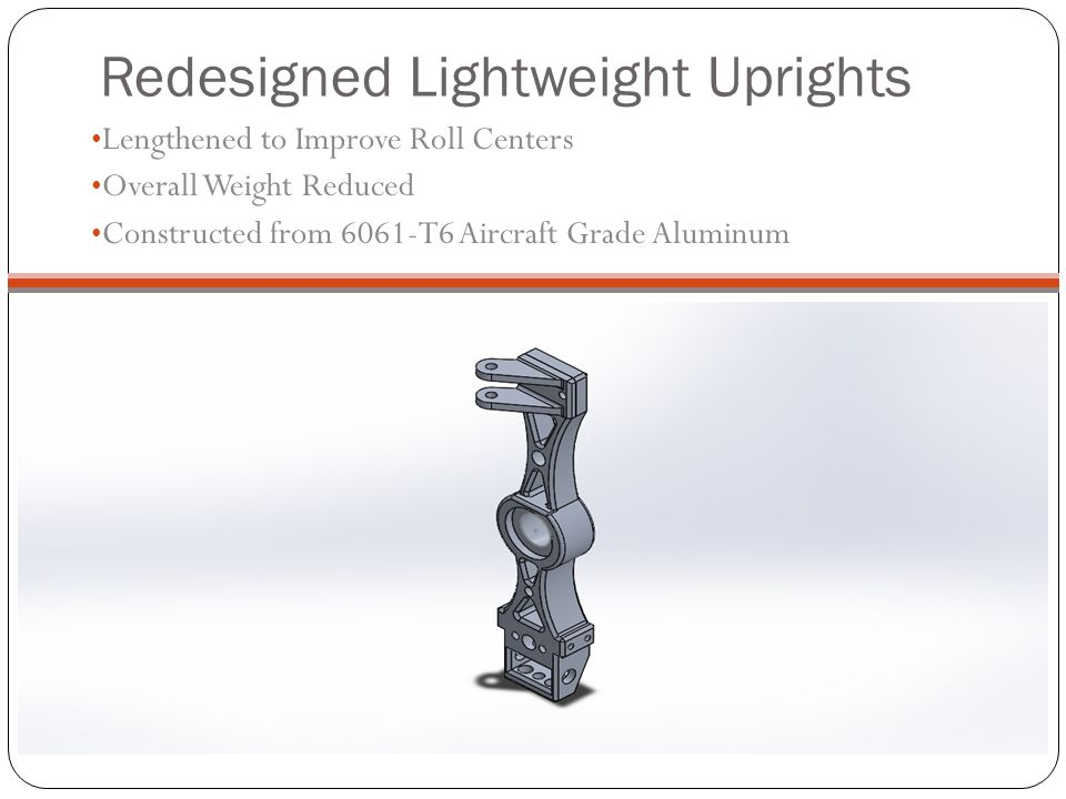 Redesigned Lightweight Uprights Lengthened to Improve Roll Centers Overall Weight Reduced Constructed from 6061-T6 Aircraft Grade Aluminum