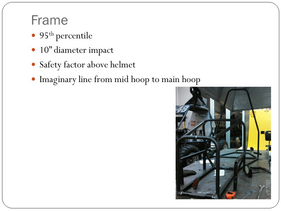 """Frame 95 th percentile 10"""" diameter impact Safety factor above helmet Imaginary line from mid hoop to main hoop"""