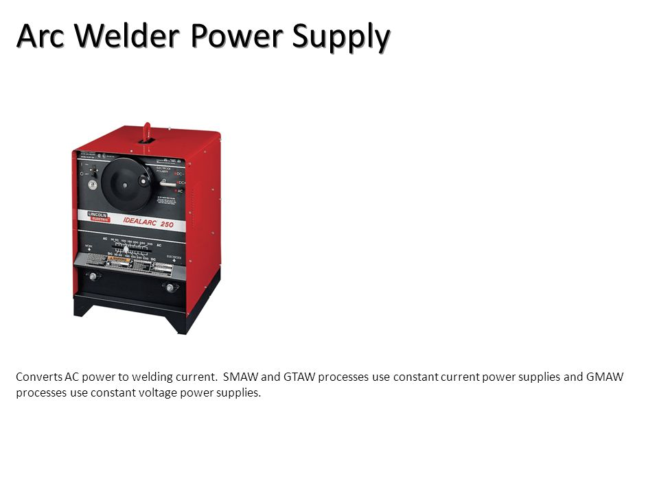 Arc Welder Power Supply Converts AC power to welding current.