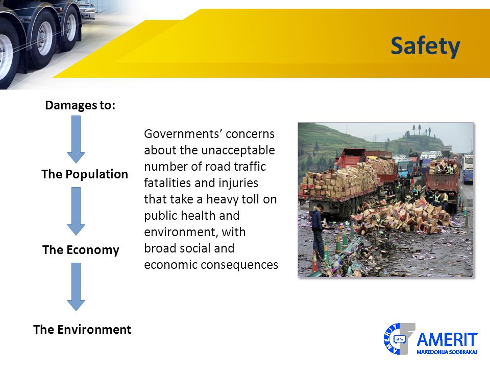 Safety The Population The Environment The Economy Damages to: Governments' concerns about the unacceptable number of road traffic fatalities and injuries that take a heavy toll on public health and environment, with broad social and economic consequences