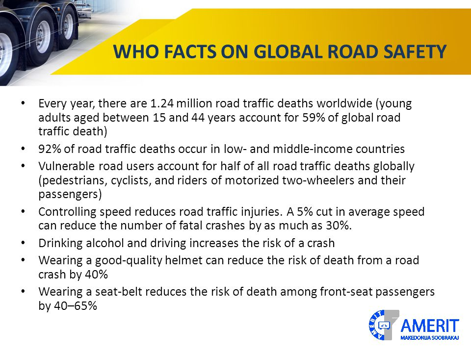 WHO FACTS ON GLOBAL ROAD SAFETY Every year, there are 1.24 million road traffic deaths worldwide (young adults aged between 15 and 44 years account for 59% of global road traffic death) 92% of road traffic deaths occur in low- and middle-income countries Vulnerable road users account for half of all road traffic deaths globally (pedestrians, cyclists, and riders of motorized two-wheelers and their passengers) Controlling speed reduces road traffic injuries.