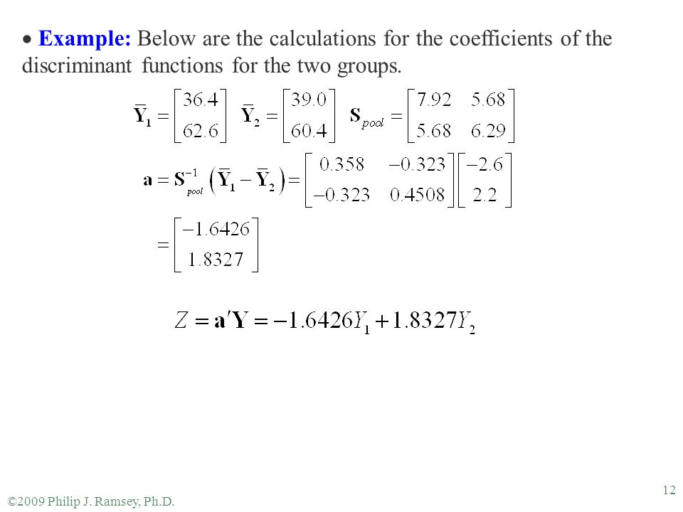 ©2009 Philip J. Ramsey, Ph.D. 12  Example: Below are the calculations for the coefficients of the discriminant functions for the two groups.