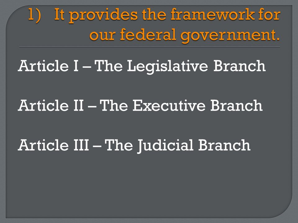 Article I – The Legislative Branch Article II – The Executive Branch Article III – The Judicial Branch