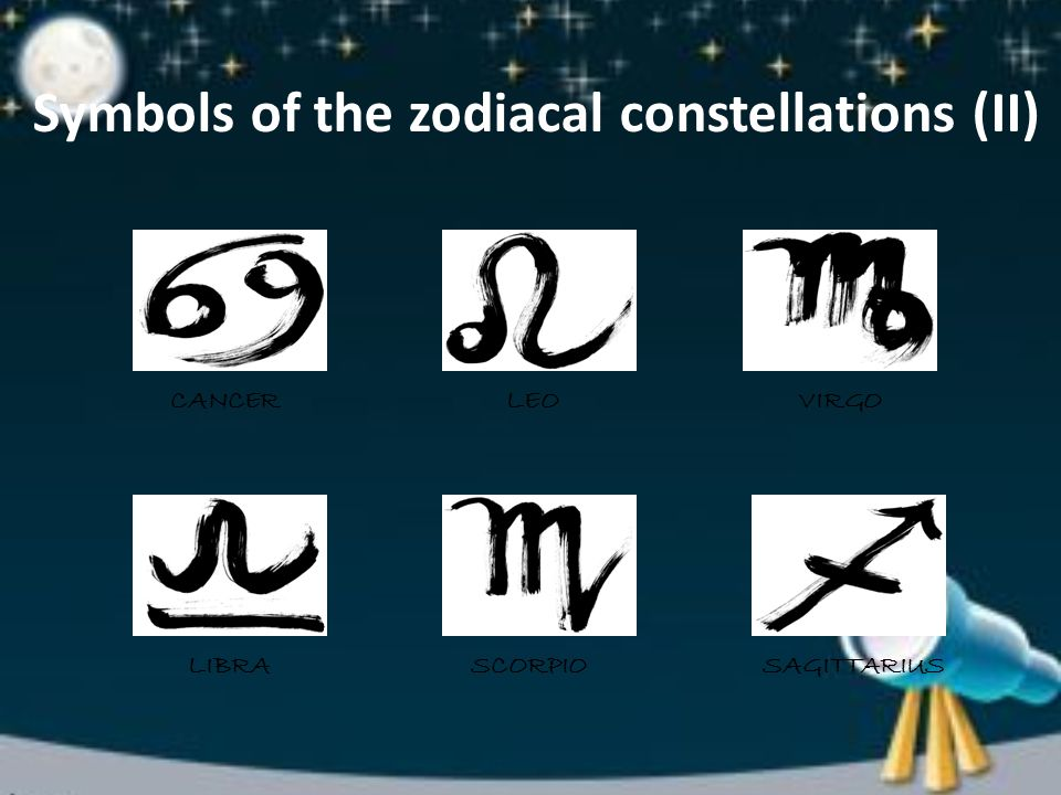 Symbols of the zodiacal constellations (II) CANCERLEOVIRGO LIBRASCORPIOSAGITTARIUS