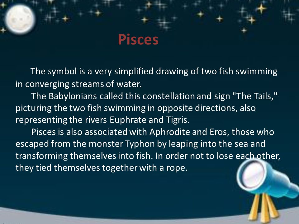 The symbol is a very simplified drawing of two fish swimming in converging streams of water.