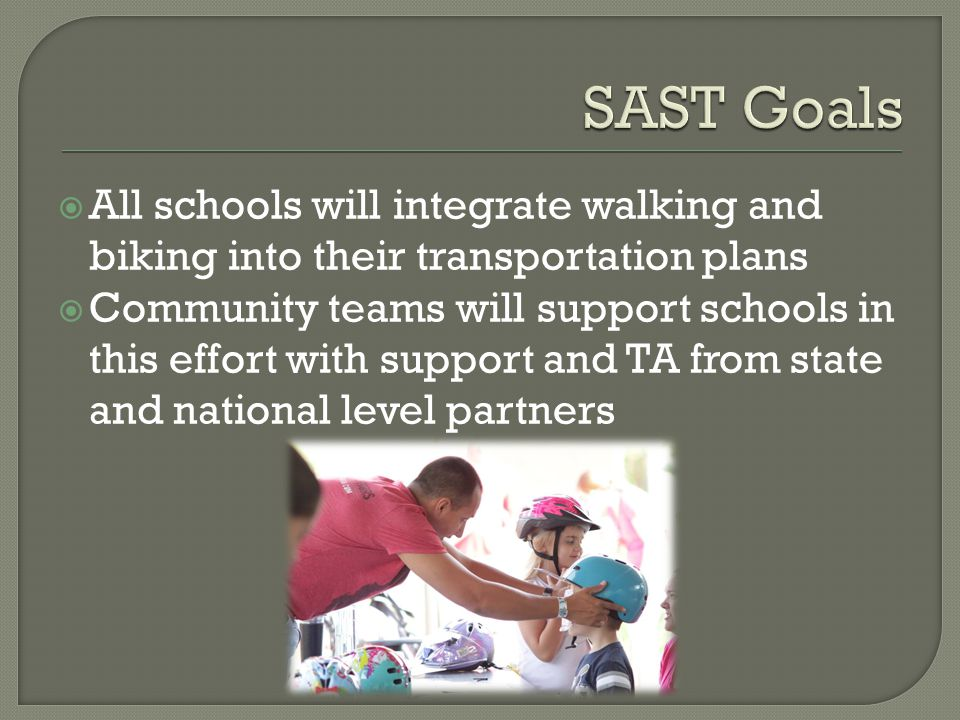  All schools will integrate walking and biking into their transportation plans  Community teams will support schools in this effort with support and TA from state and national level partners