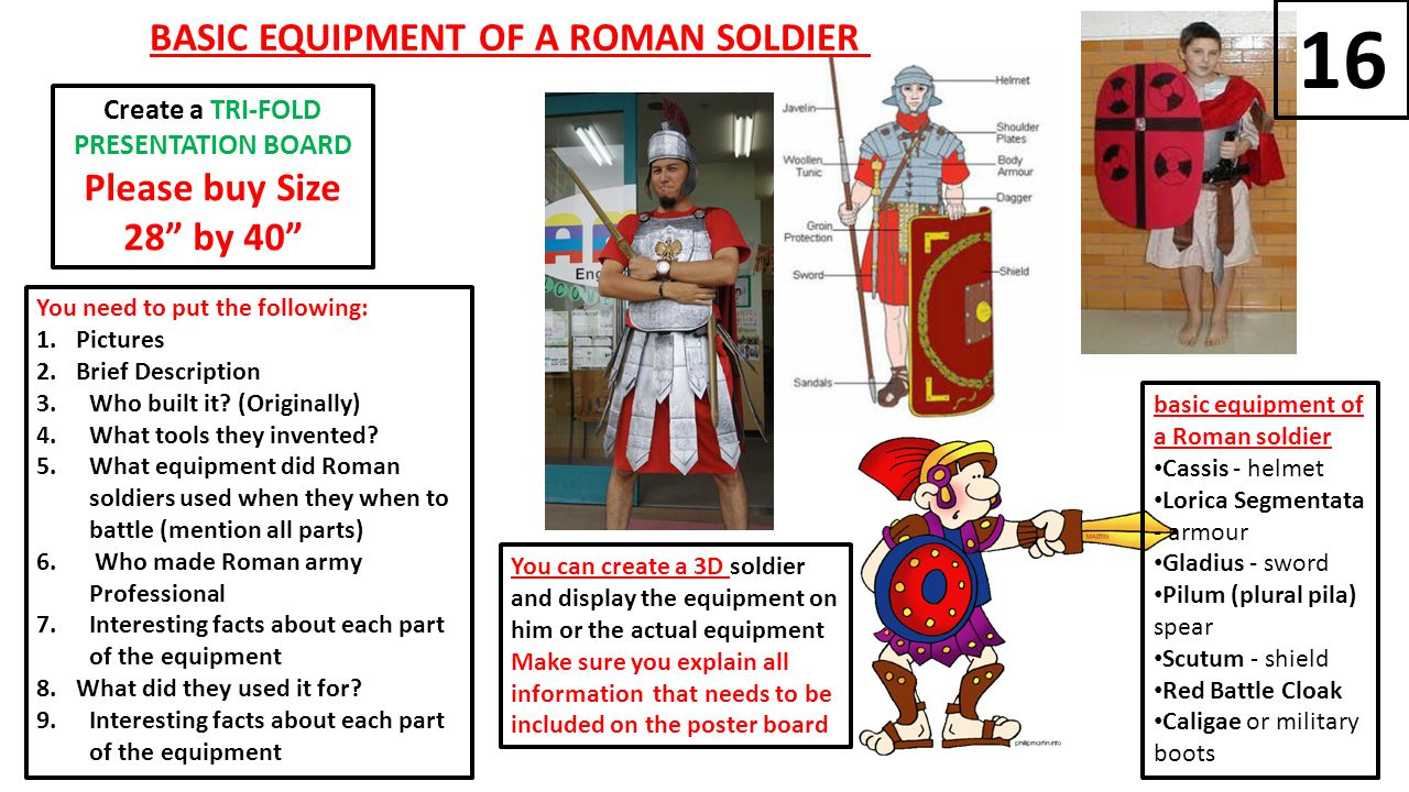 basic equipment of a Roman soldier Cassis - helmet Lorica Segmentata - armour Gladius - sword Pilum (plural pila) spear Scutum - shield Red Battle Cloak Caligae or military boots BASIC EQUIPMENT OF A ROMAN SOLDIER You need to put the following: 1.Pictures 2.Brief Description 3.Who built it.