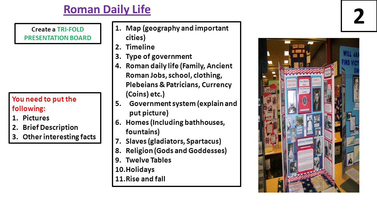 Roman Daily Life 1.Map (geography and important cities) 2.Timeline 3.Type of government 4.Roman daily life (Family, Ancient Roman Jobs, school, clothing, Plebeians & Patricians, Currency (Coins) etc.) 5.Government system (explain and put picture) 6.Homes (Including bathhouses, fountains) 7.Slaves (gladiators, Spartacus) 8.Religion (Gods and Goddesses) 9.Twelve Tables 10.Holidays 11.Rise and fall You need to put the following: 1.Pictures 2.Brief Description 3.Other interesting facts 2 Create a TRI-FOLD PRESENTATION BOARD