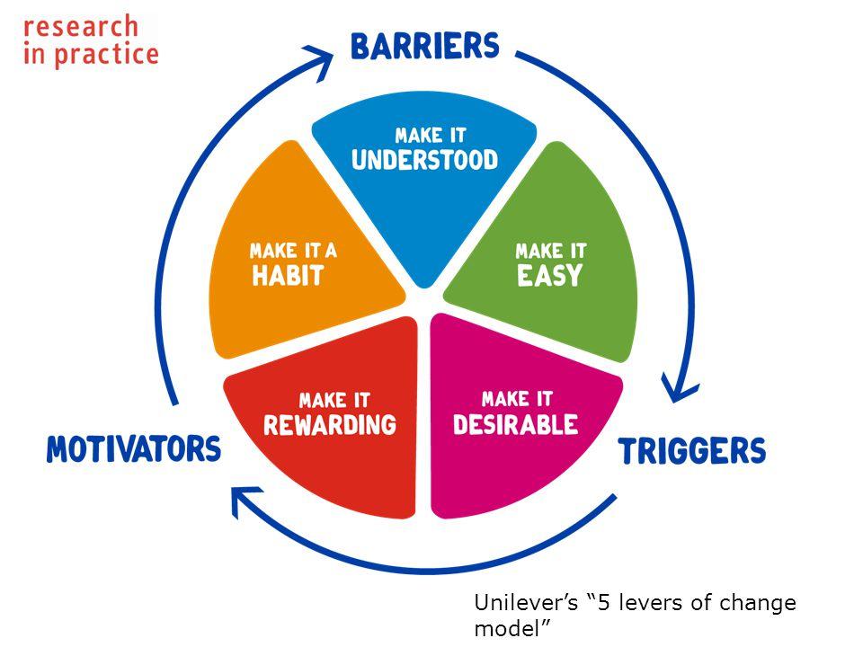 Unilever's 5 levers of change model